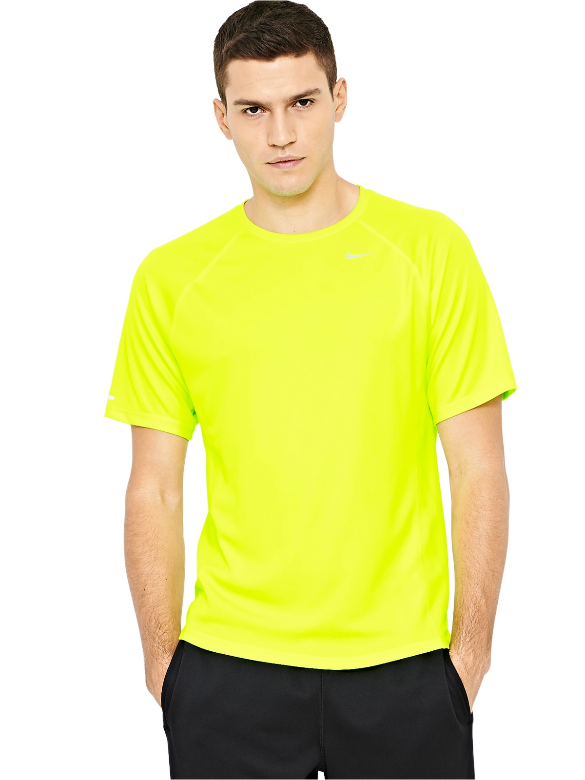 Nike Nike Miler Short Sleeve Mens T Shirt In Yellow For