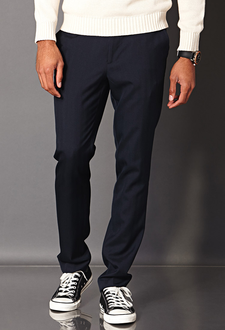 Forever 21 Striped Dress Pants in Blue for Men | Lyst