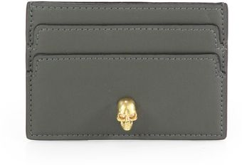 Alexander McQueen Skull etailed Leather Card Case - Lyst