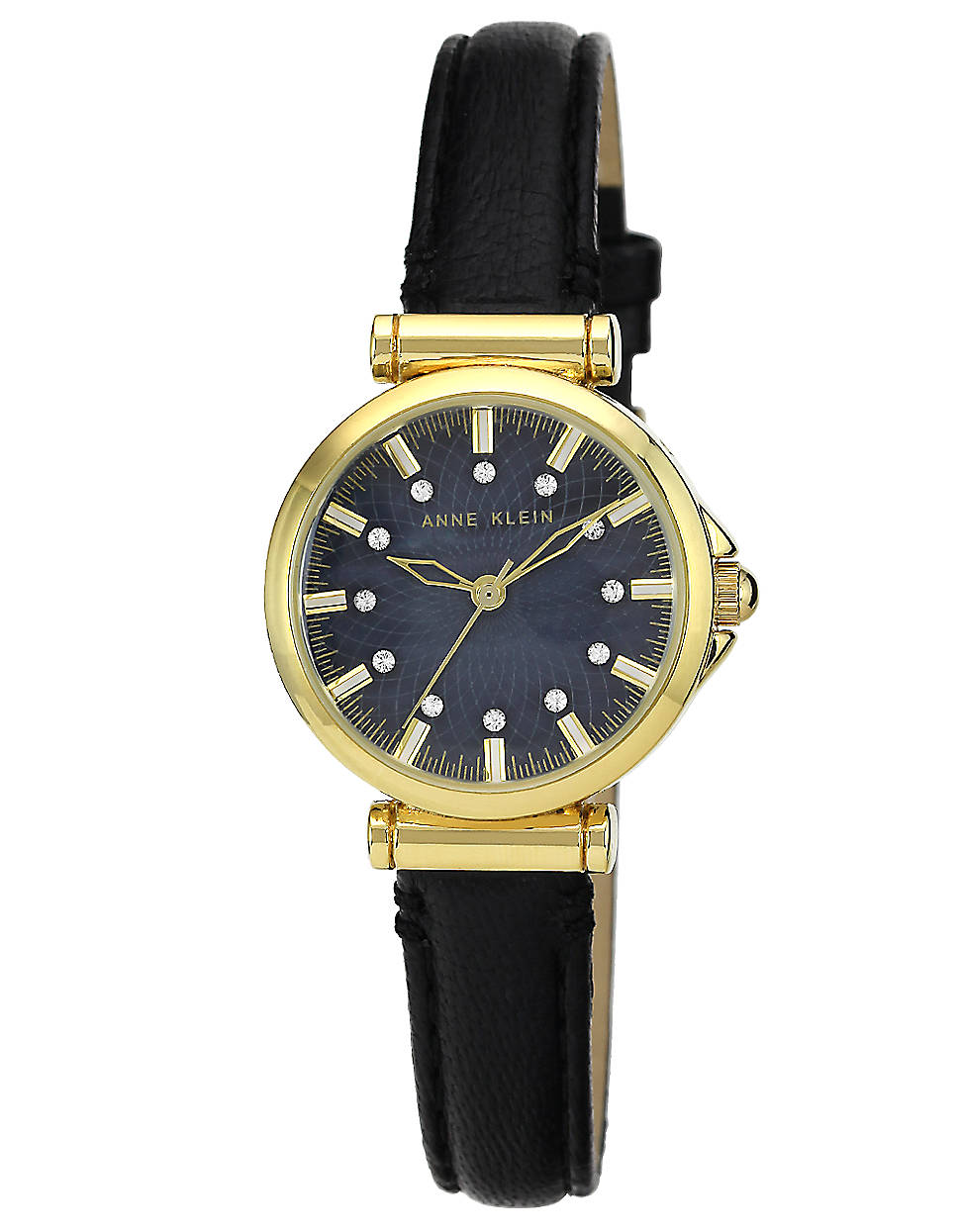 Anne klein ladies goldtone black watch with leather strap in gold black lyst for Anne klein leather strap
