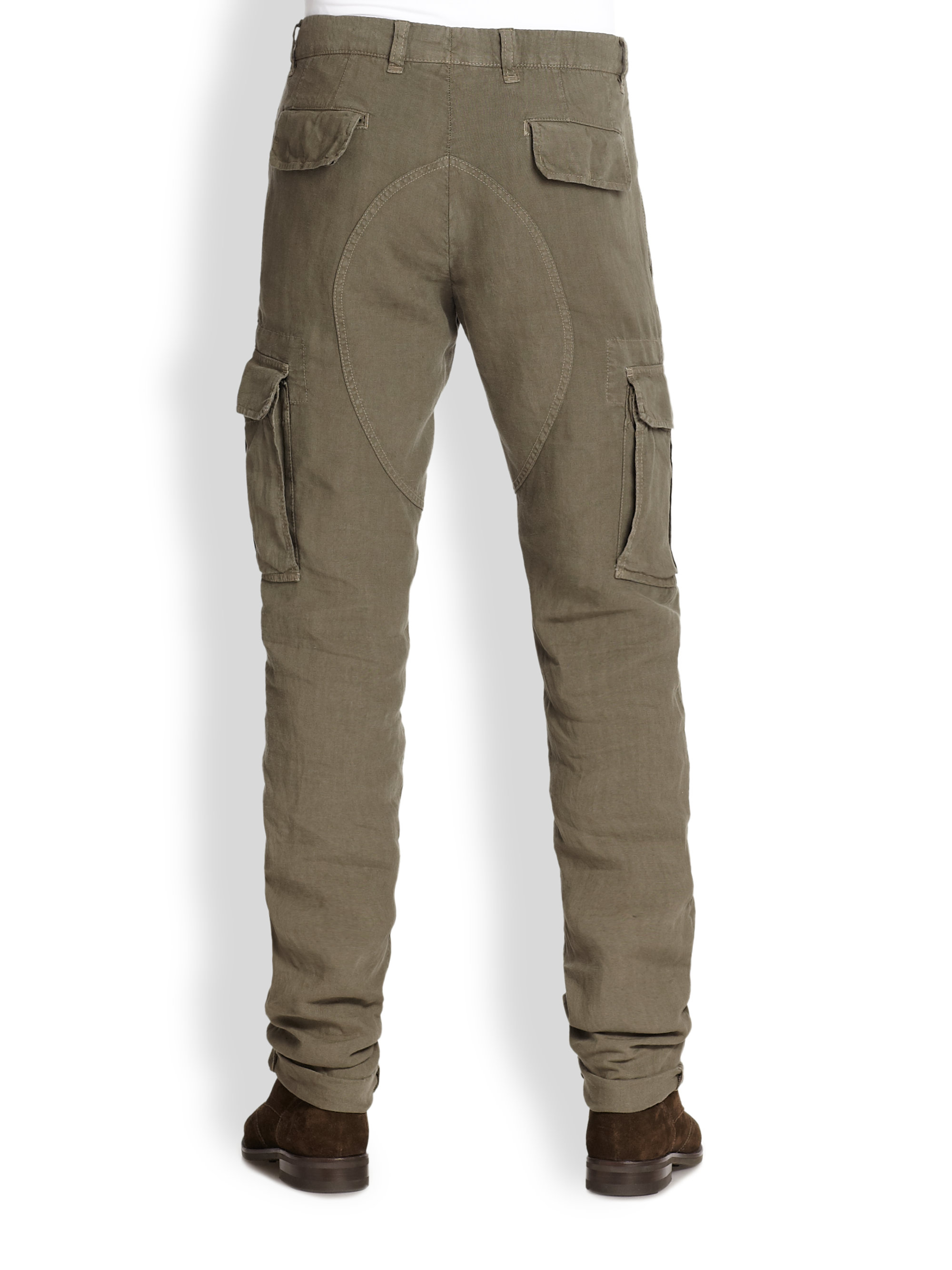 Brunello cucinelli Slim-Fit Linen Cargo Pants in Natural for Men ...