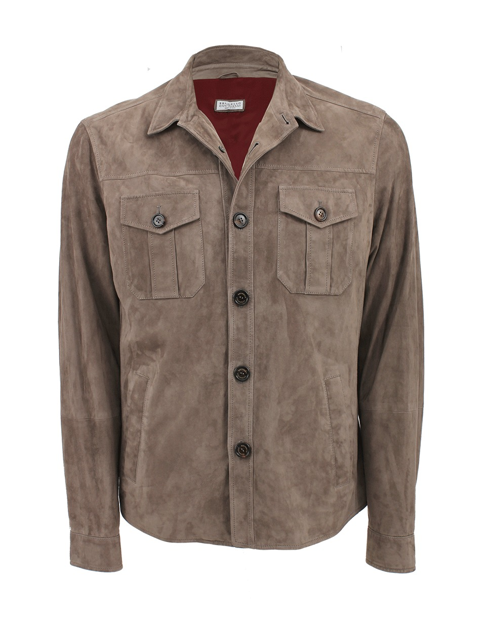 Brunello Cucinelli Suede Shirt Jacket In Brown For Men