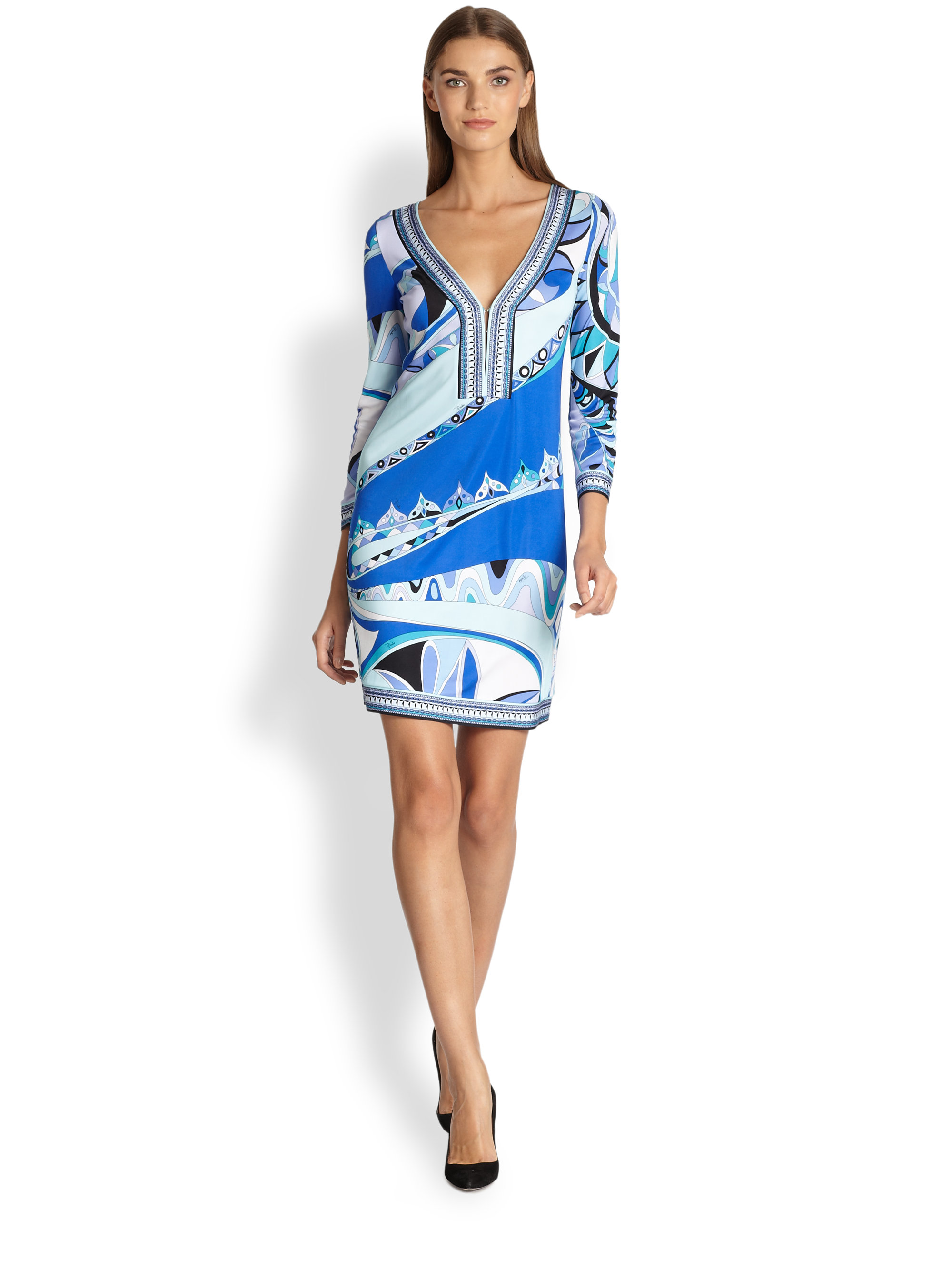 Lyst Emilio Pucci Printed Jersey Tunic Dress In Blue