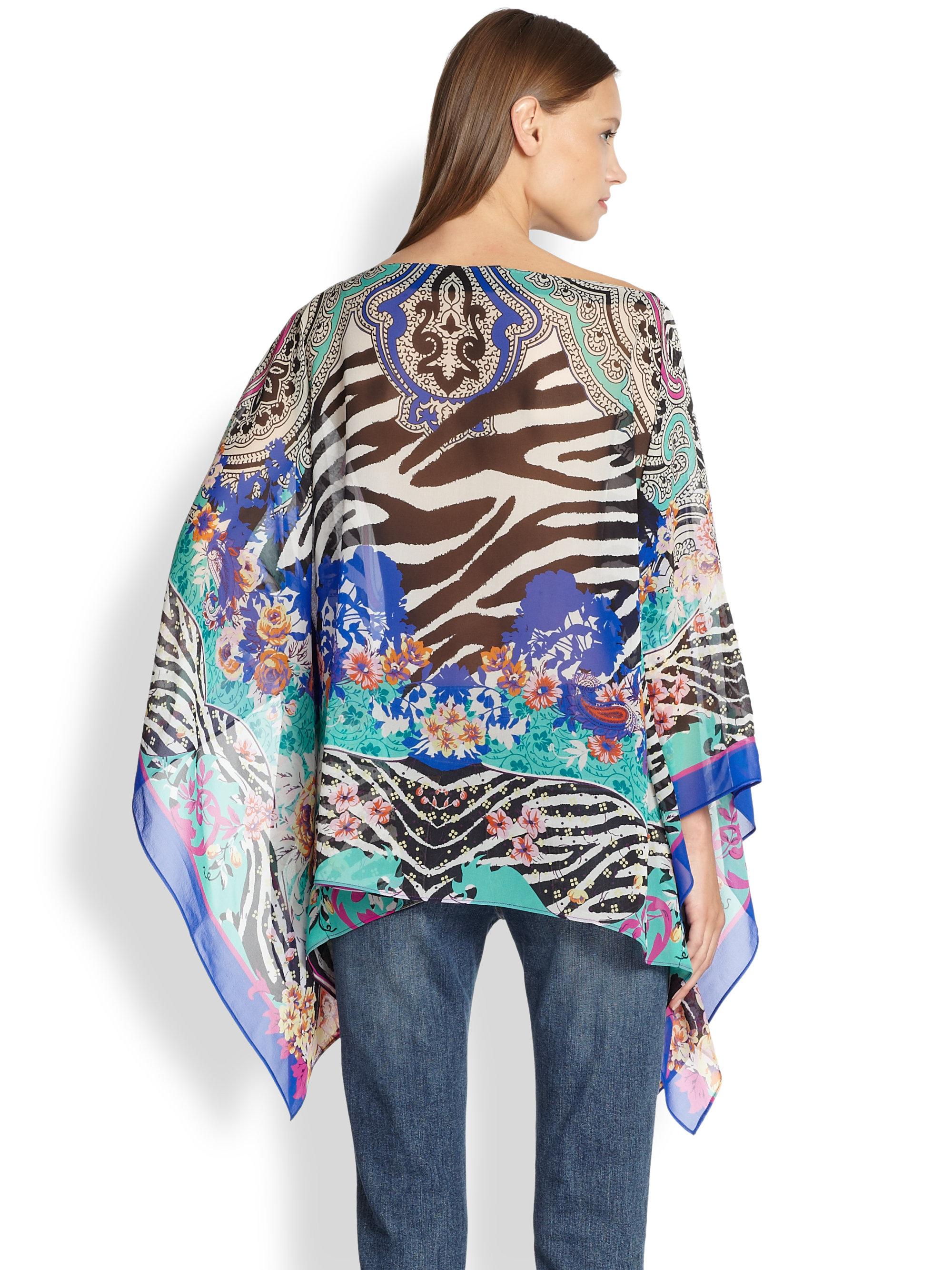 Lyst Etro Scarf Print Silk Poncho Top In Blue