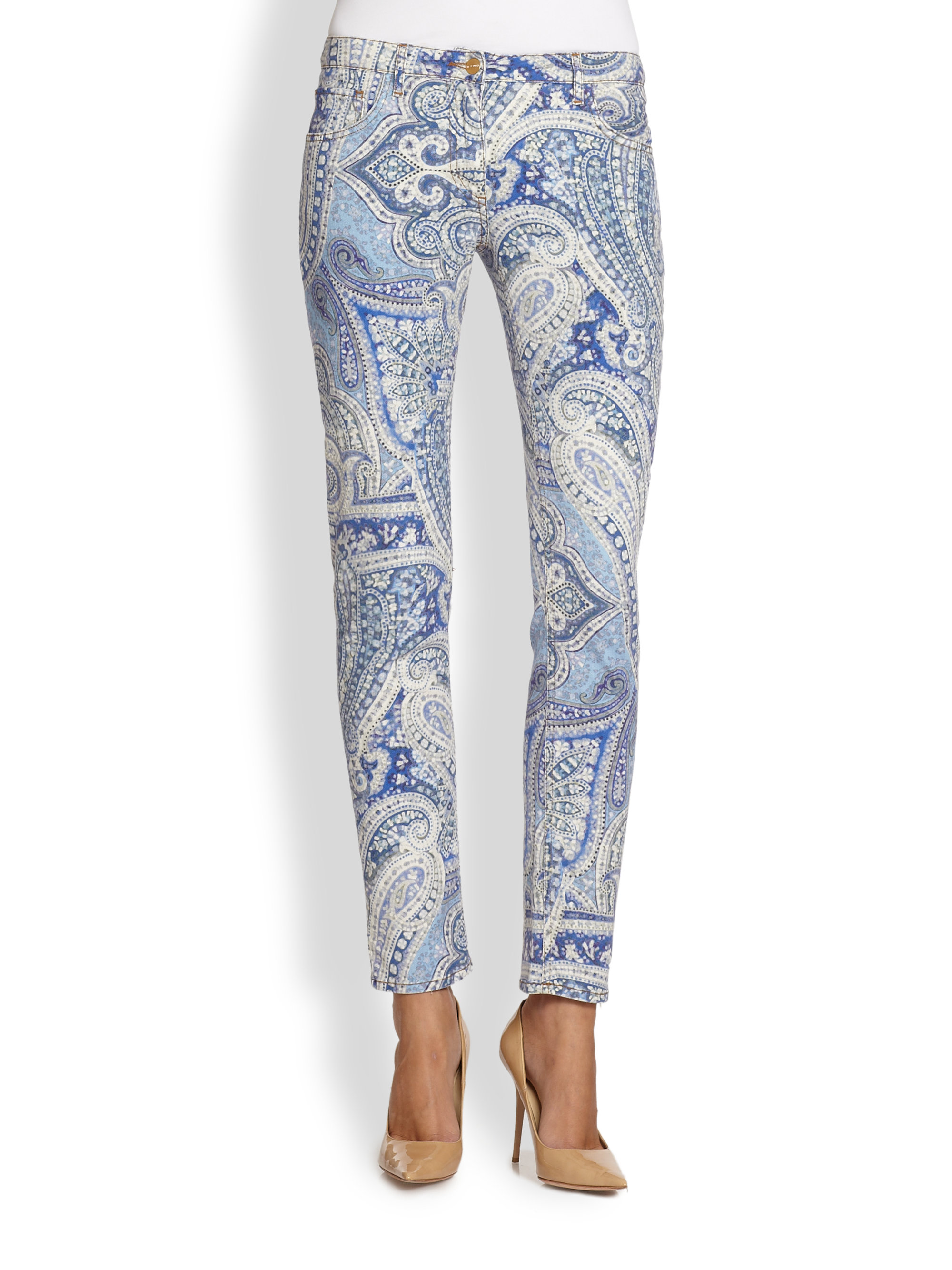 Lyst Etro Paisley Skinny Jeans In Blue