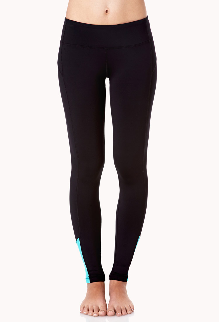 Forever 21 Reflective Skinny Workout Leggings in Black (BLACK/TEAL) | Lyst