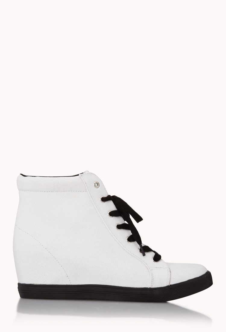 4b8c02536736 Lyst - Forever 21 Throwback Wedge Sneakers in White