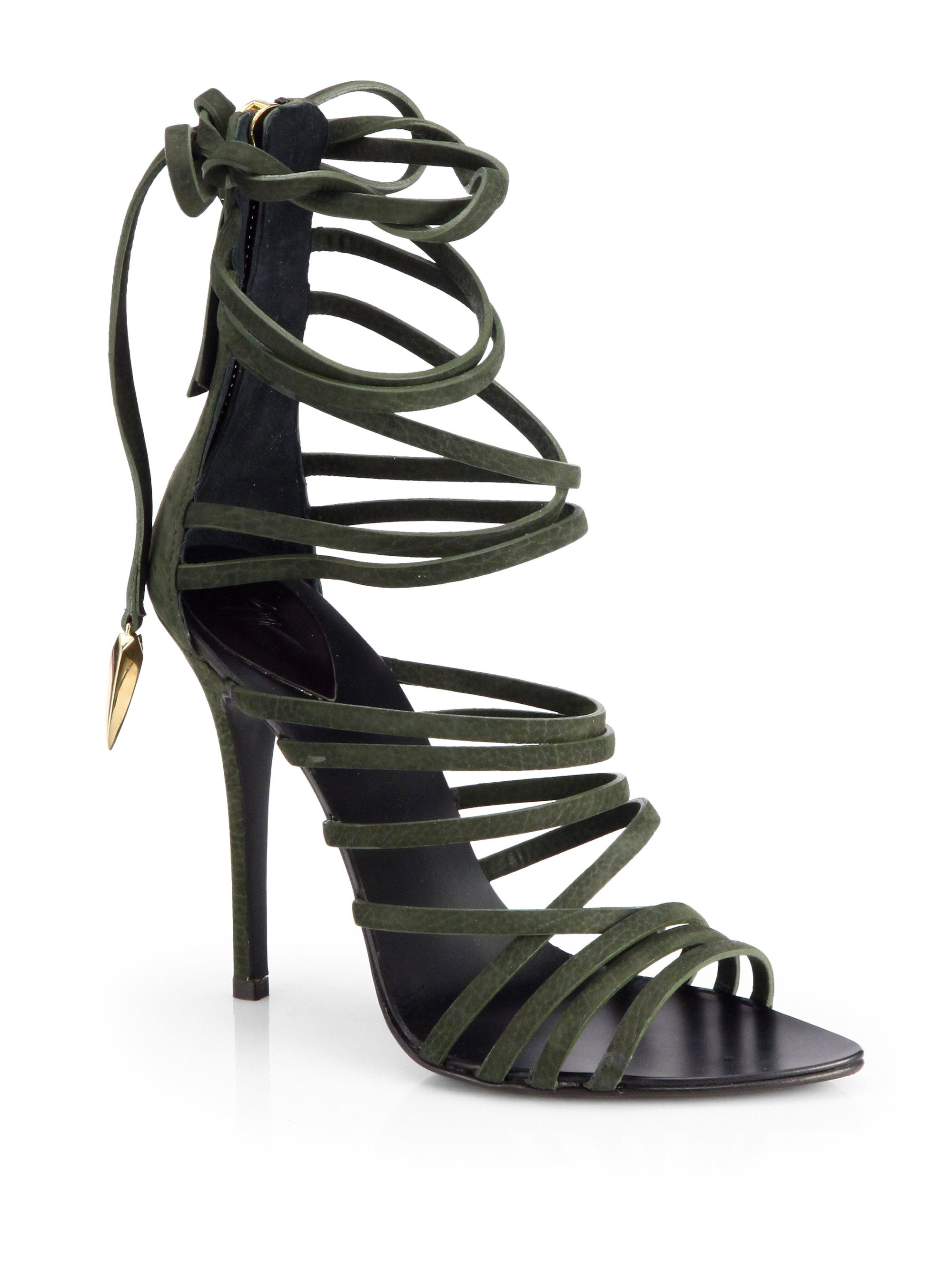 4e607d86750 Lyst - Giuseppe Zanotti Leather Strappy Tieup Sandals in Green
