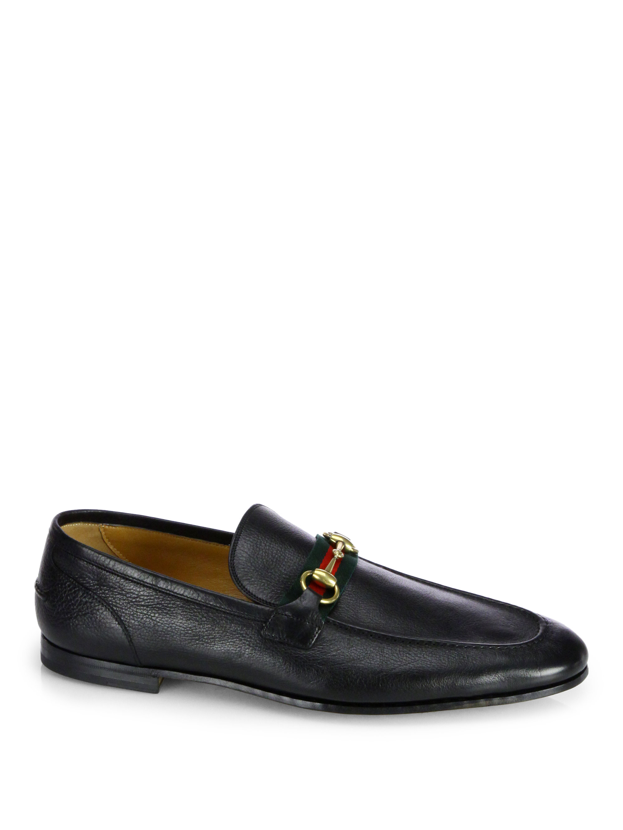 gucci leather horsebit loafers in black for men lyst. Black Bedroom Furniture Sets. Home Design Ideas