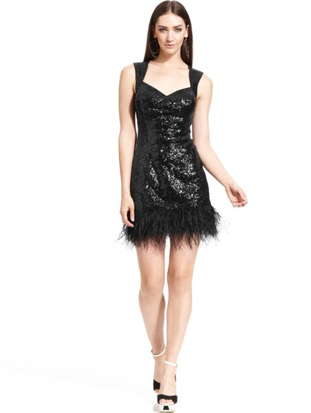 Guess Sequin Feather Cutout Sheath In Black Lyst