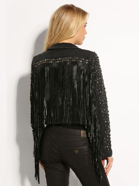 Guess Fringe Brittney Denim Jacket In Black Lyst