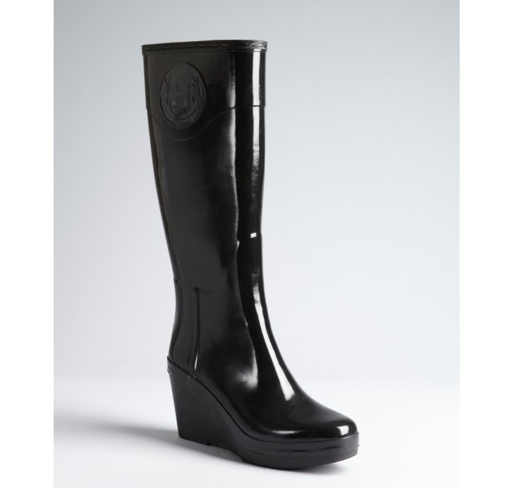 Lyst Hunter Black Rubber Champery Wedge Heel Rain Boots
