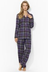 Lauren by Ralph Lauren Plaid Cotton Pajama Set - Lyst