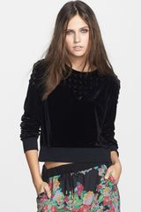 Leith Studded Velour Sweatshirt - Lyst
