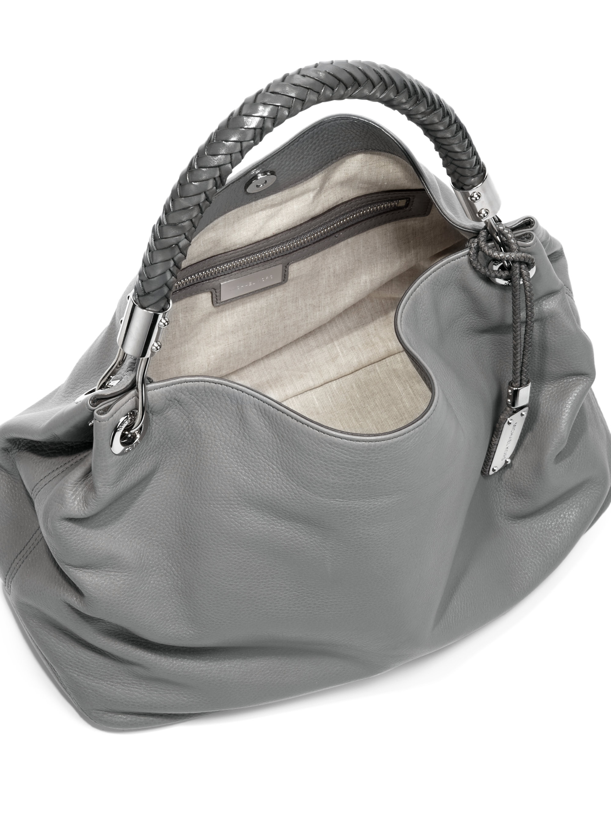 329b8b29cb80 Michael Kors Skorpios Leather Shoulder Bag in Gray - Lyst