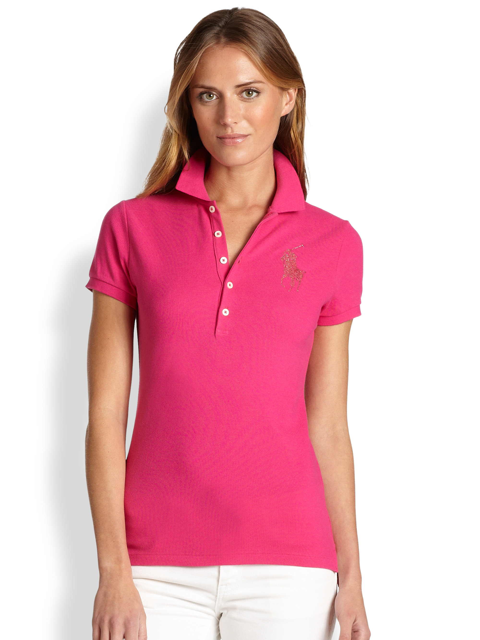 87ca79cf1d Lyst - Ralph Lauren Blue Label Crystal Big Pony Polo Shirt in Green
