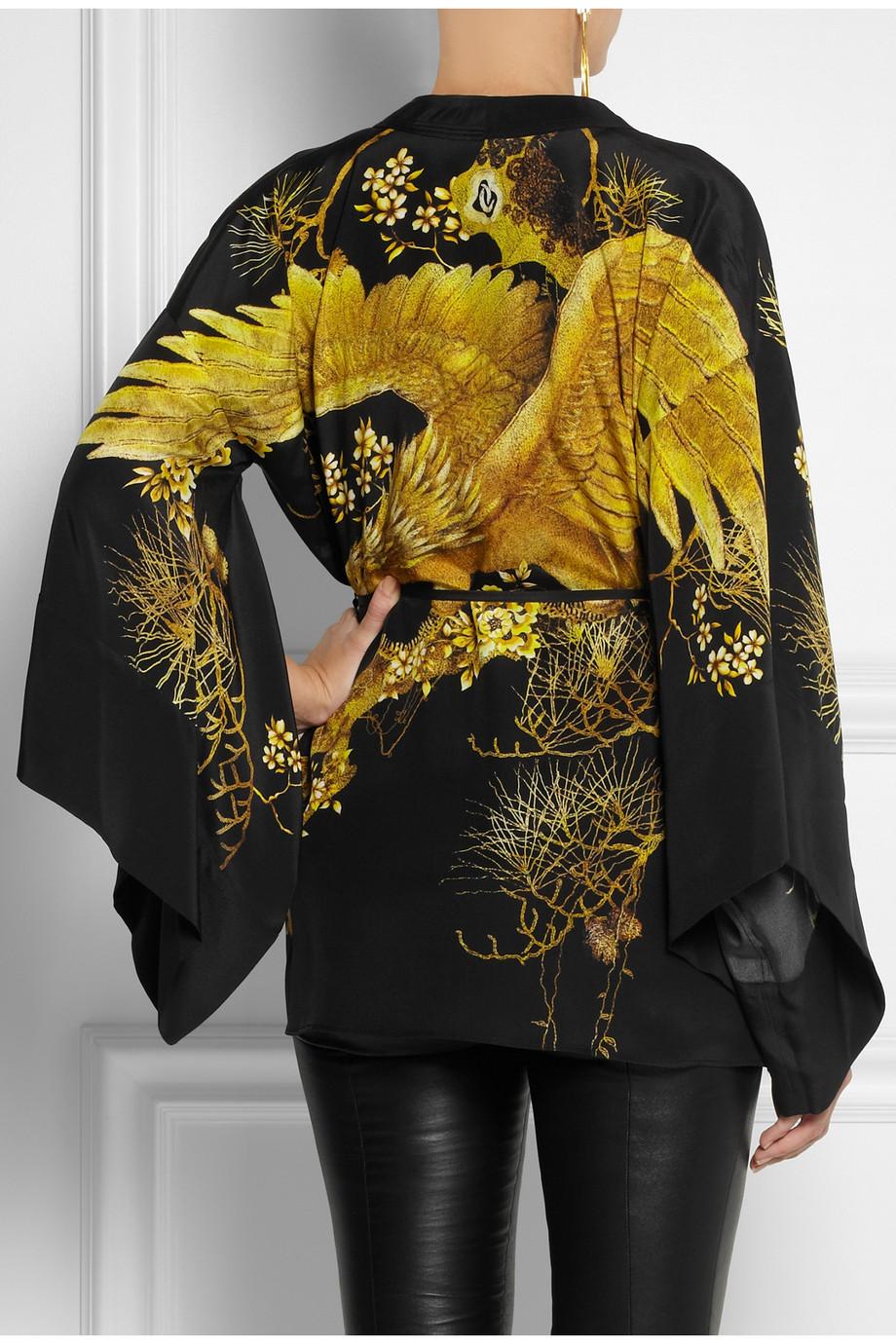 Roberto cavalli Chimera Silk Kimono Jacket in Metallic | Lyst