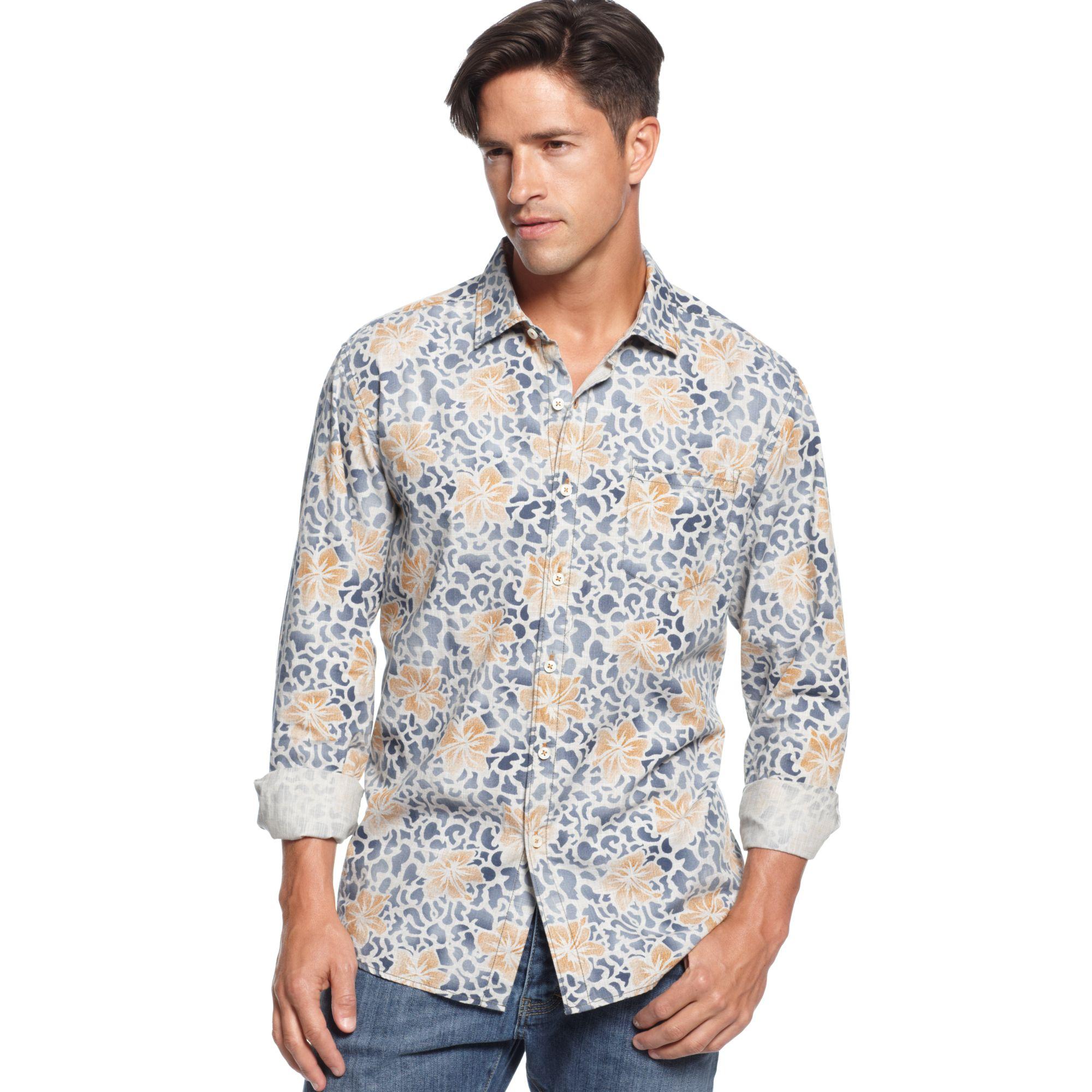 Tommy bahama long sleeve camoloha shirt in blue for men for Tommy bahama long sleeve dress shirts