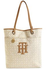 Tommy Hilfiger Logo Patch Signature Jacquard North South Tote - Lyst