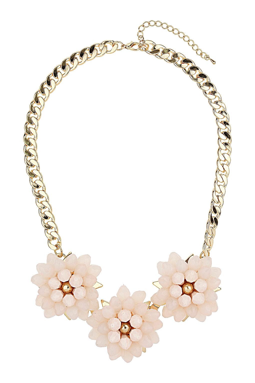 Topshop Triple Bead Flower Necklace In Metallic Lyst