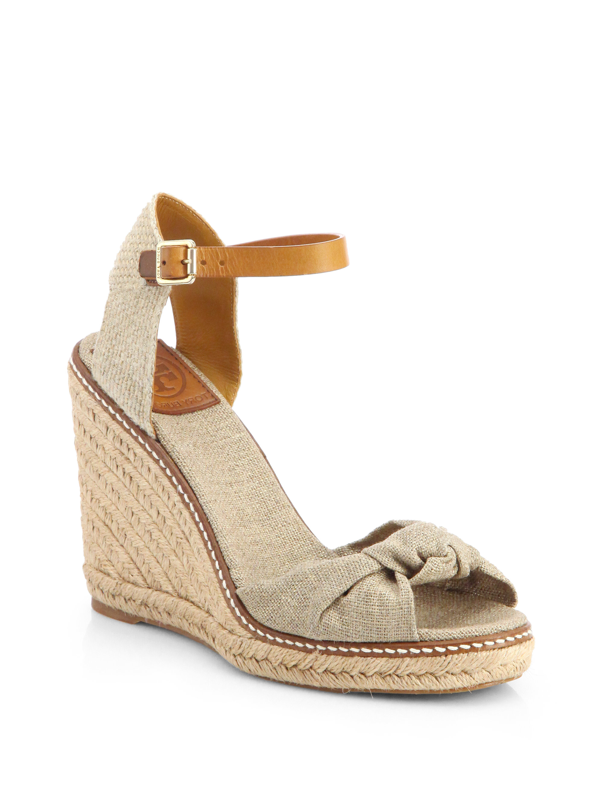 4790c0f28bd463 Lyst - Tory Burch Macy Linen Espadrille Wedge Sandals in Natural