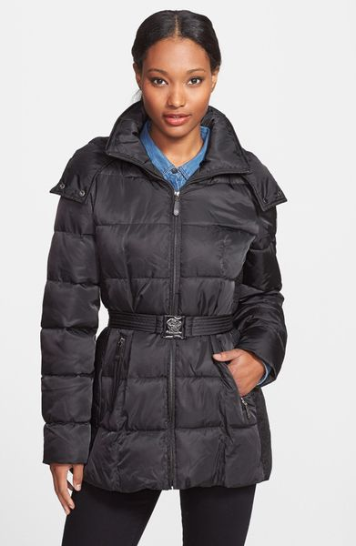 Vince Camuto Belted Puffer Coat With Faux Fur Collar In