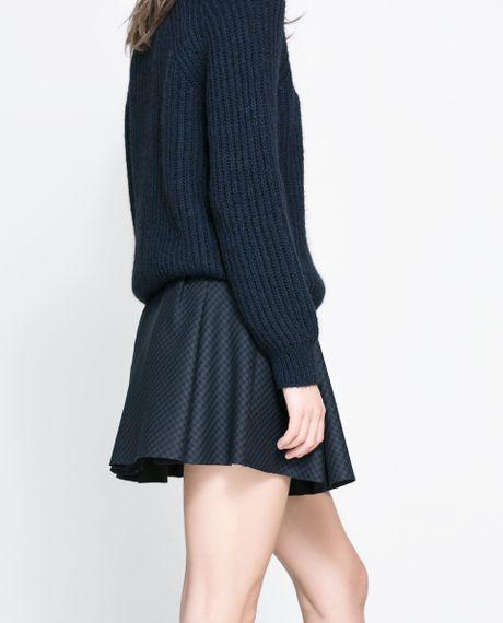 zara studio box pleat skirt in blue navy blue lyst