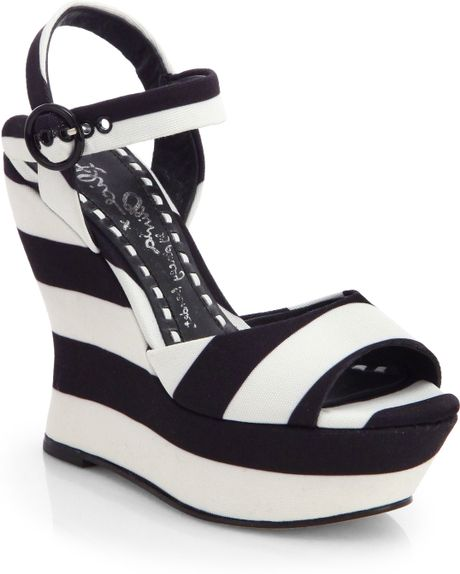 striped canvas wedge sandals in white