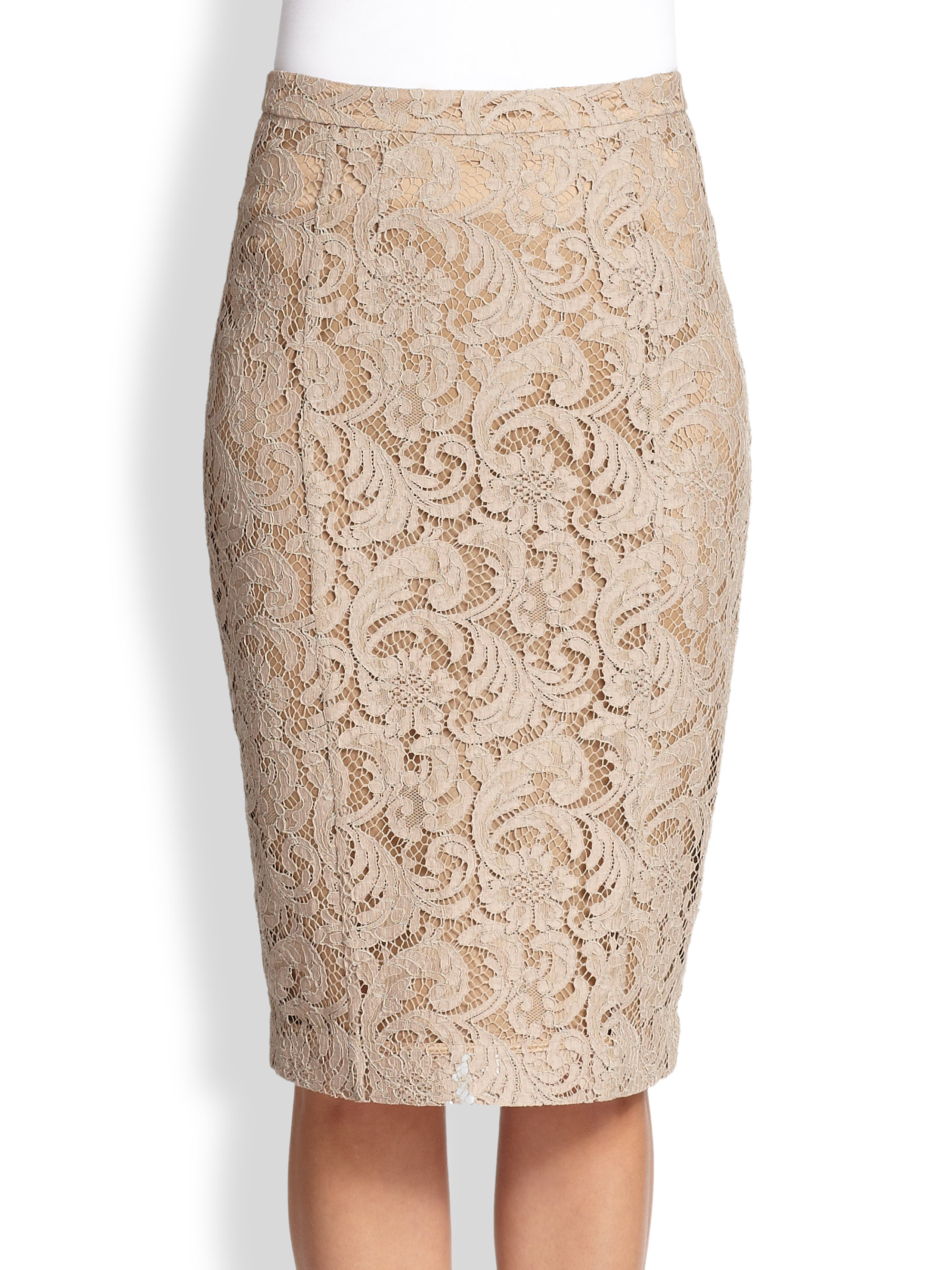 Burberry Lace Pencil Skirt in Natural | Lyst