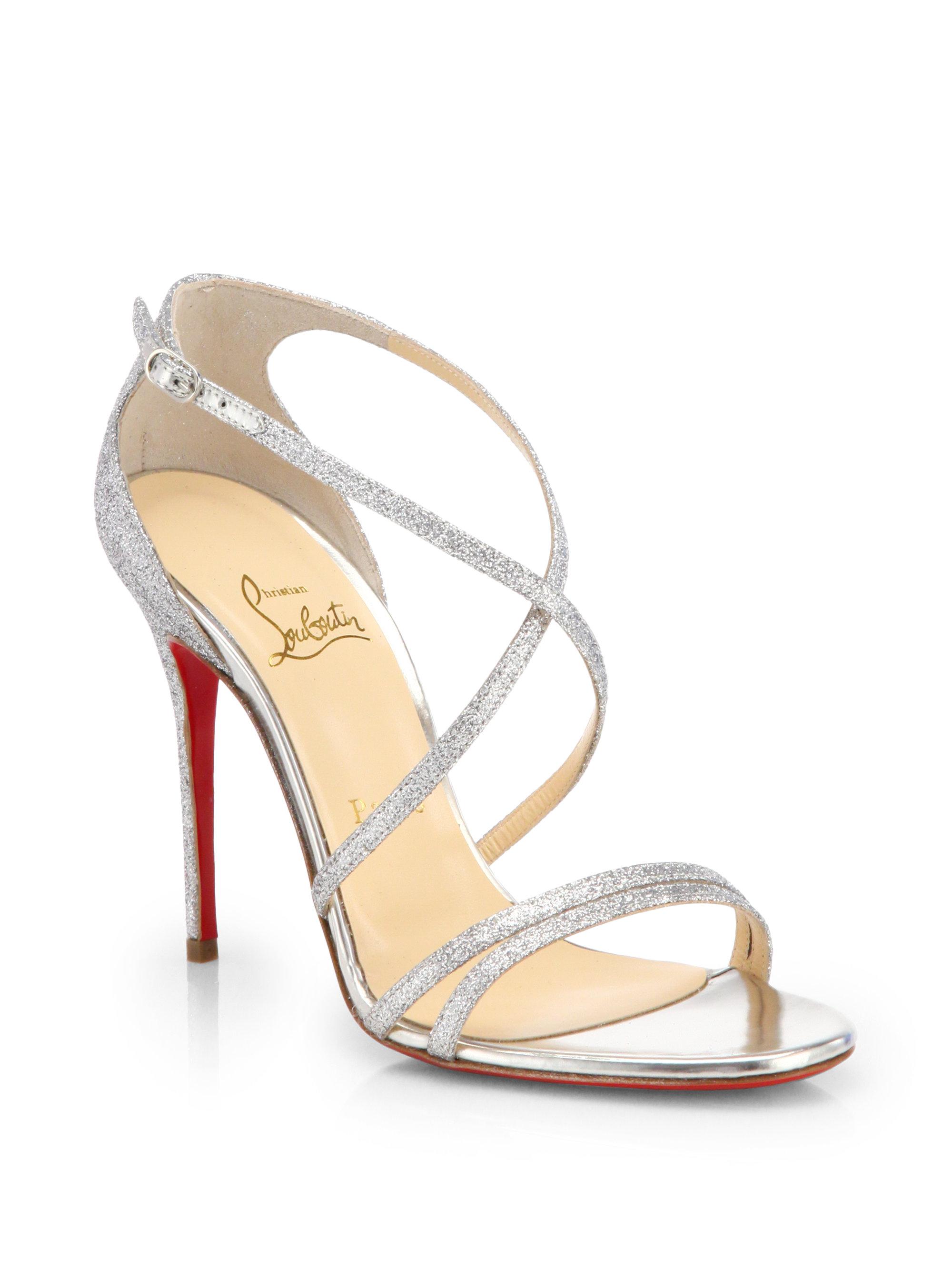 f40e8d56622 ... cheapest lyst christian louboutin gwynitta glitter sandals in metallic  4f7eb 8e817