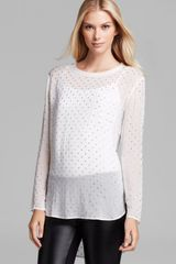 DKNY Studded Long Sleeve Blouse - Lyst