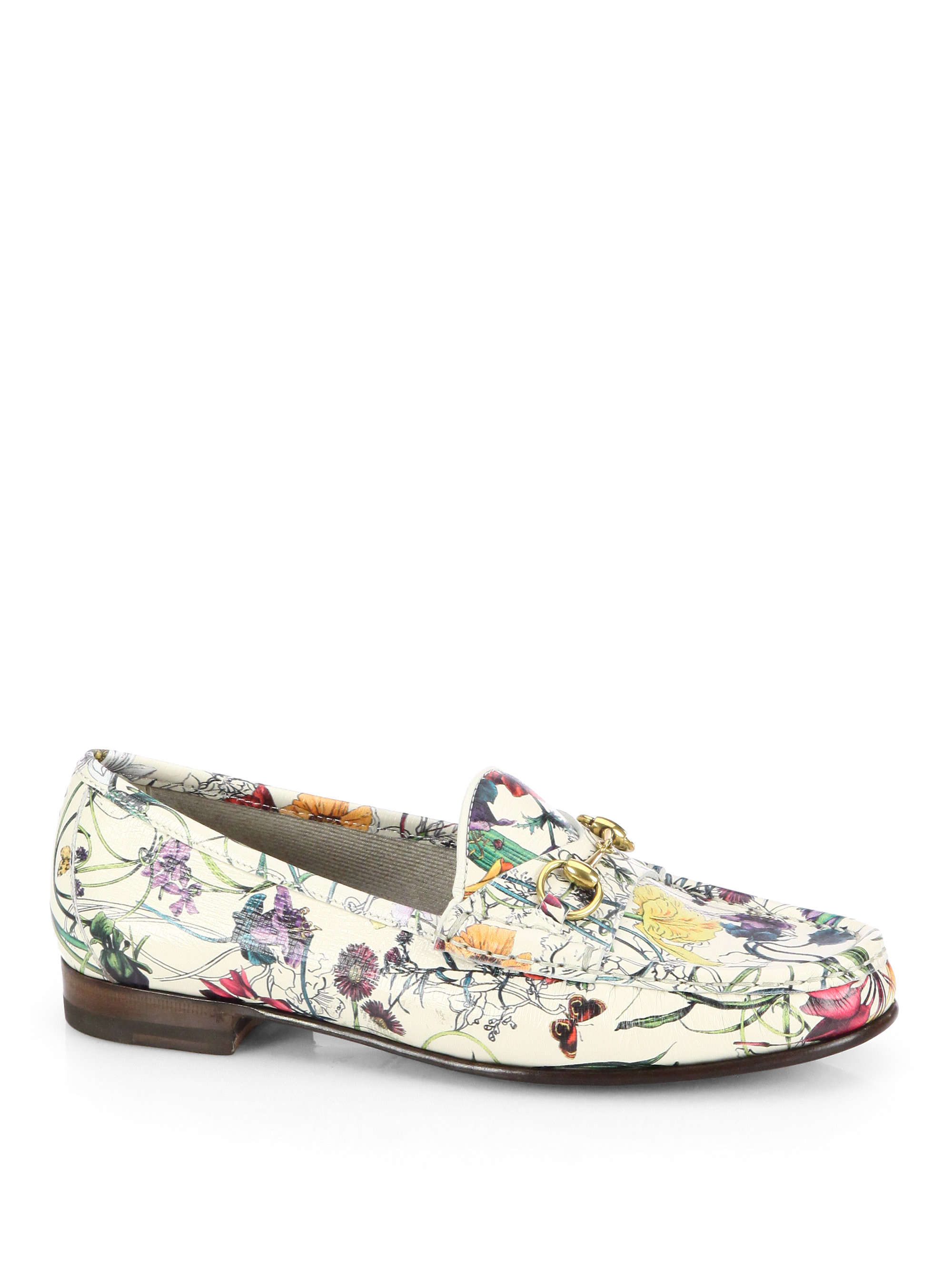 Lyst Gucci Floral Print Leather Moccasin Loafers