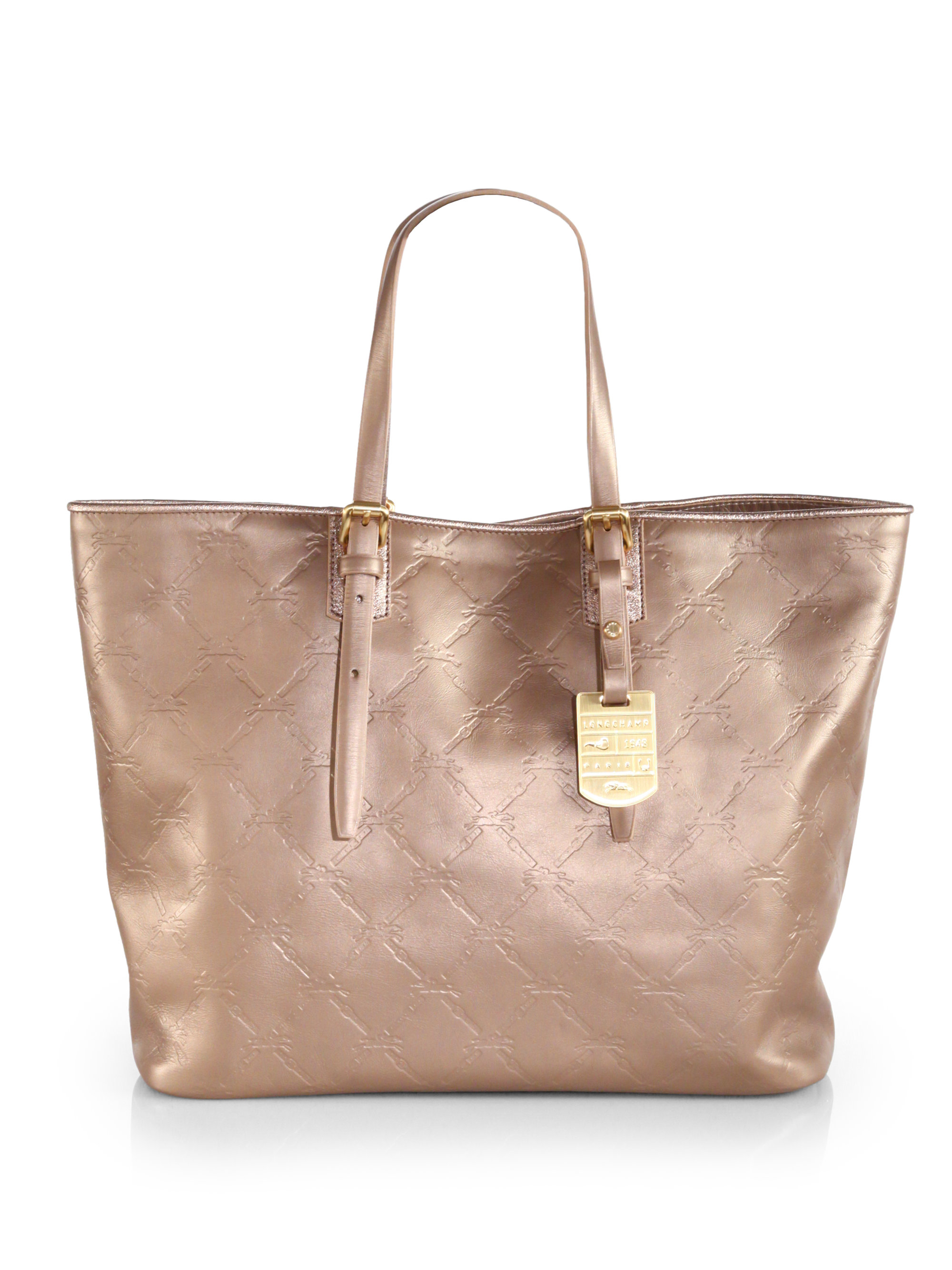 Lyst - Longchamp Lm Cuir Stamped Leather Medium Tote in Metallic ce066a8bc4