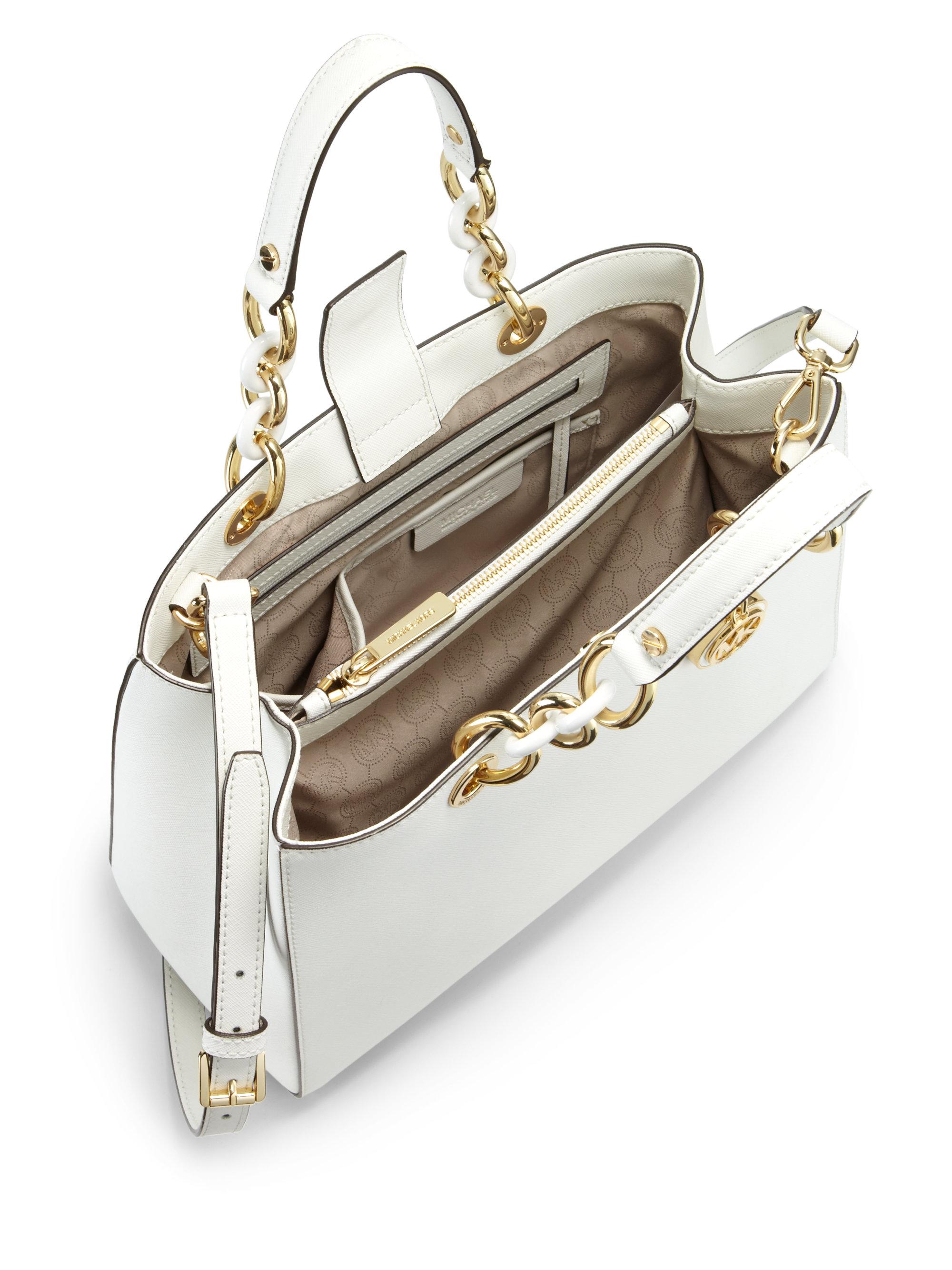 a7a06d4f375a france michael kors satchel in pale blue d22a0 473ec; sale lyst michael  michael kors cynthia medium satchel in white a310d f6291