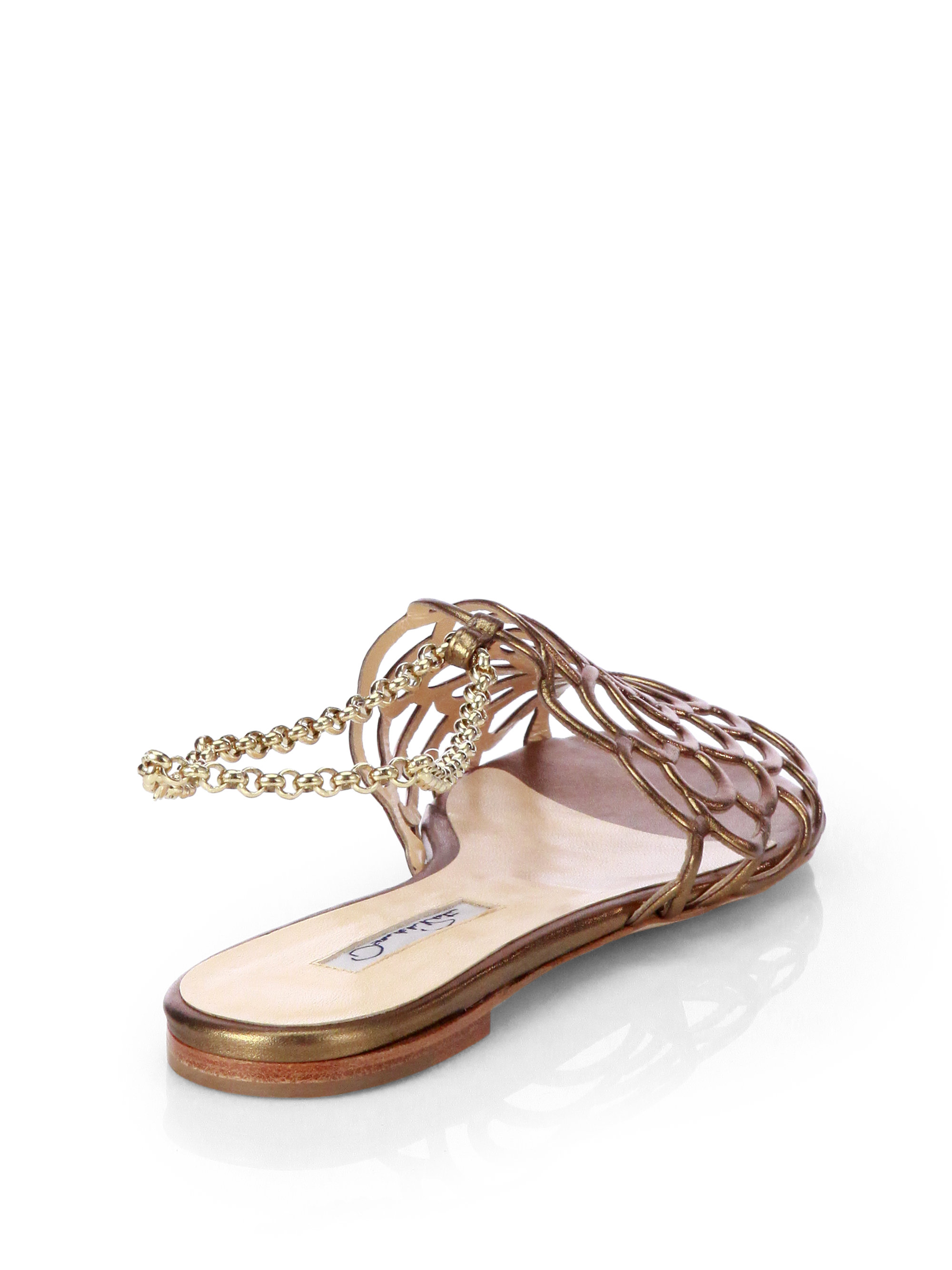 rhinestone embellished sandals - Metallic Oscar De La Renta Sale Marketable New Styles Outlet Supply Affordable QIe6E