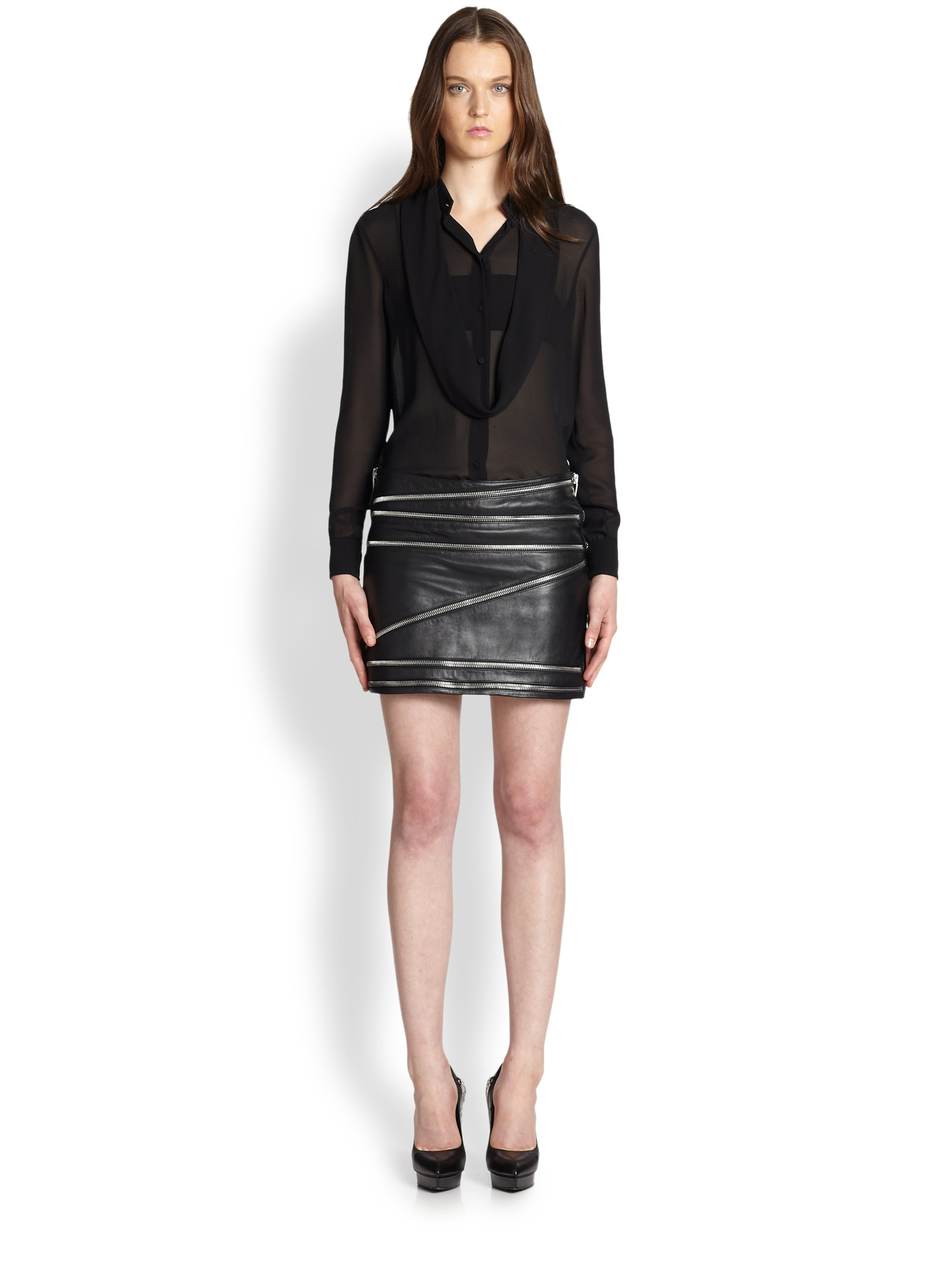 8a7224d1f Gallery. Previously sold at: Saks Fifth Avenue · Women's Black Leather  Skirts Women's Leather Mini Skirts