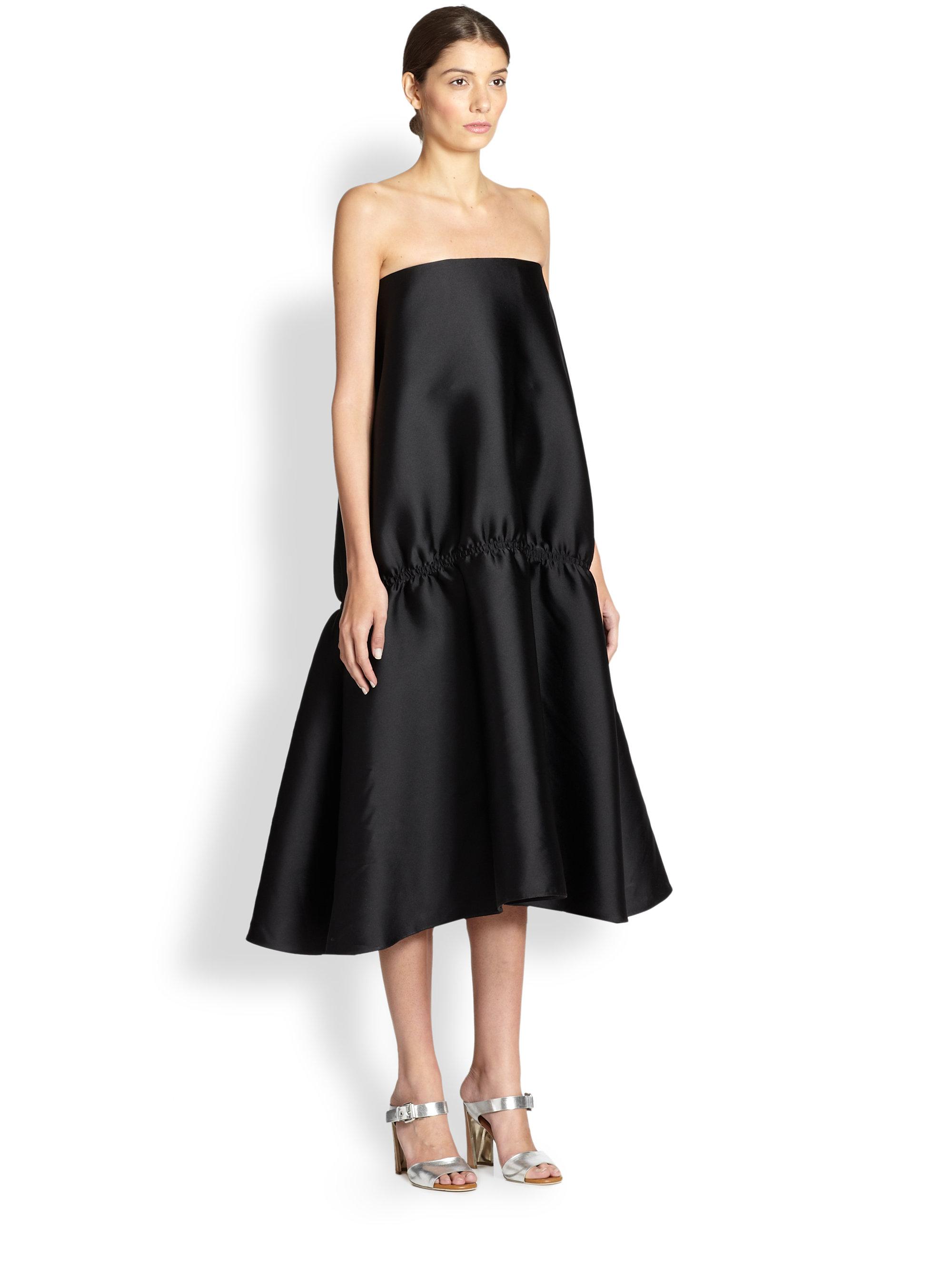 Lyst Stella Mccartney Strap Less Flounce Hem Evening Dress In Black
