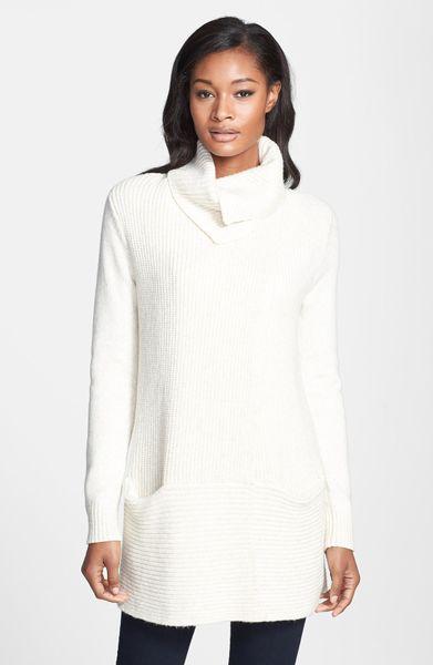 White Warren Shaker Sweater Dress In Beige Snow Heather