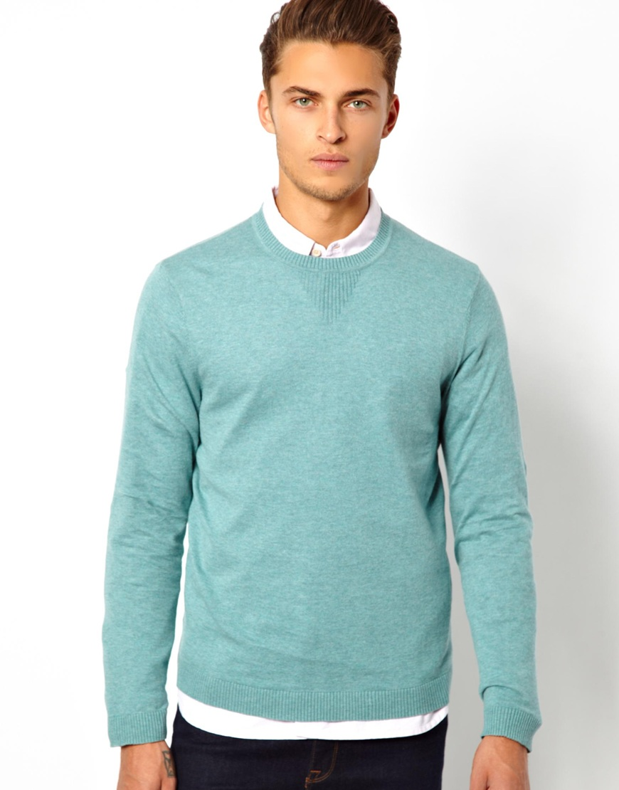 Asos Crew Neck Sweater in Green for Men | Lyst
