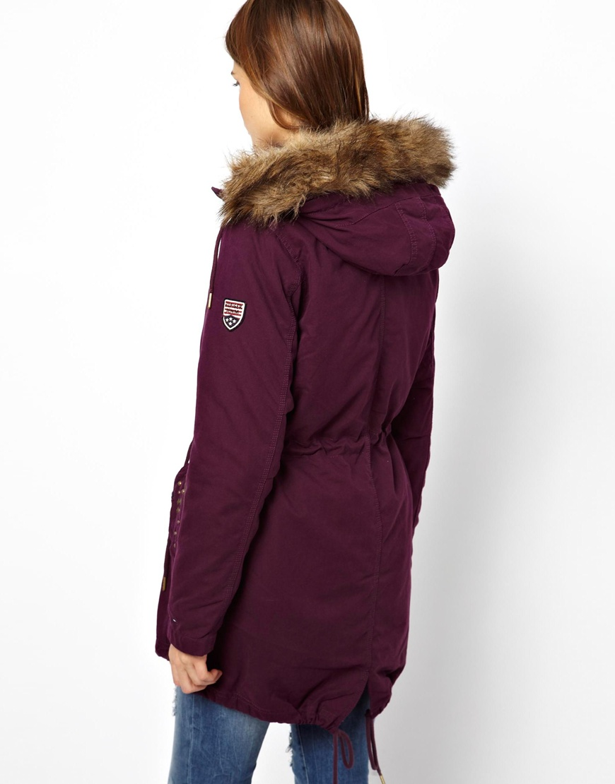 lyst asos hilfiger denim lined parka with fur trim in purple. Black Bedroom Furniture Sets. Home Design Ideas