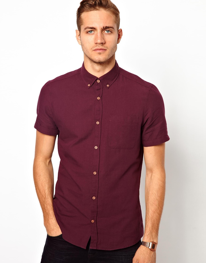 Lyst asos short sleeve oxford shirt in berry in purple for Mens short sleeve oxford shirt