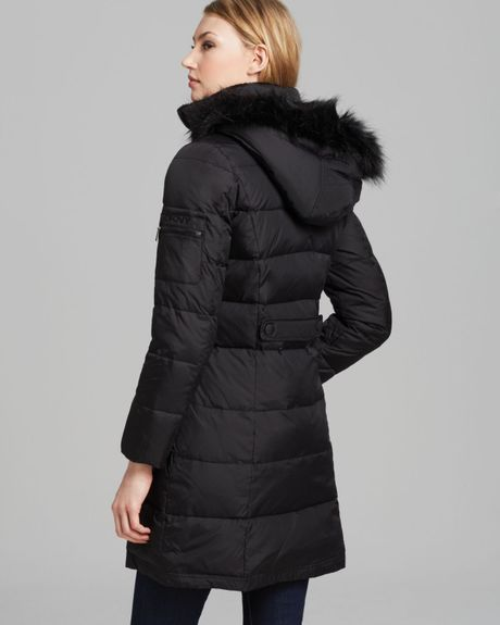 Dkny Down Puffer Coat With Faux Fur Trim In Black Lyst