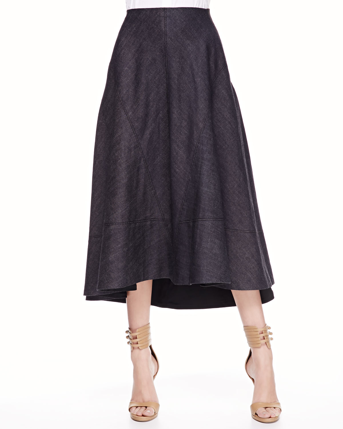 donna karan new york denim circle skirt indigo in