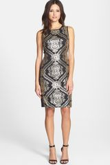 Donna Ricco Sequined Mesh Sheath Dress - Lyst