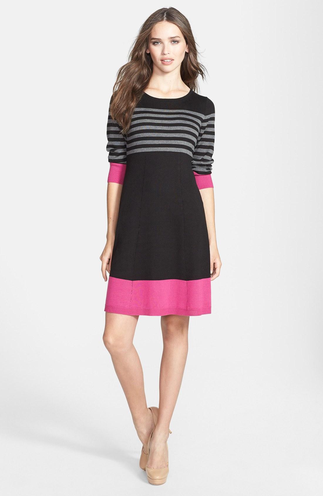 Eliza J Stripe Fit Flare Dress In Pink Pink Multi Lyst