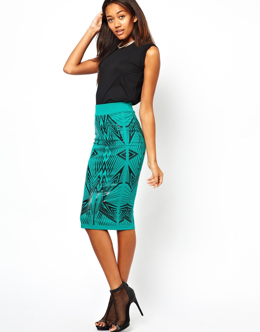 Asos River Island Wet Look Printed Pencil Skirt in Green | Lyst