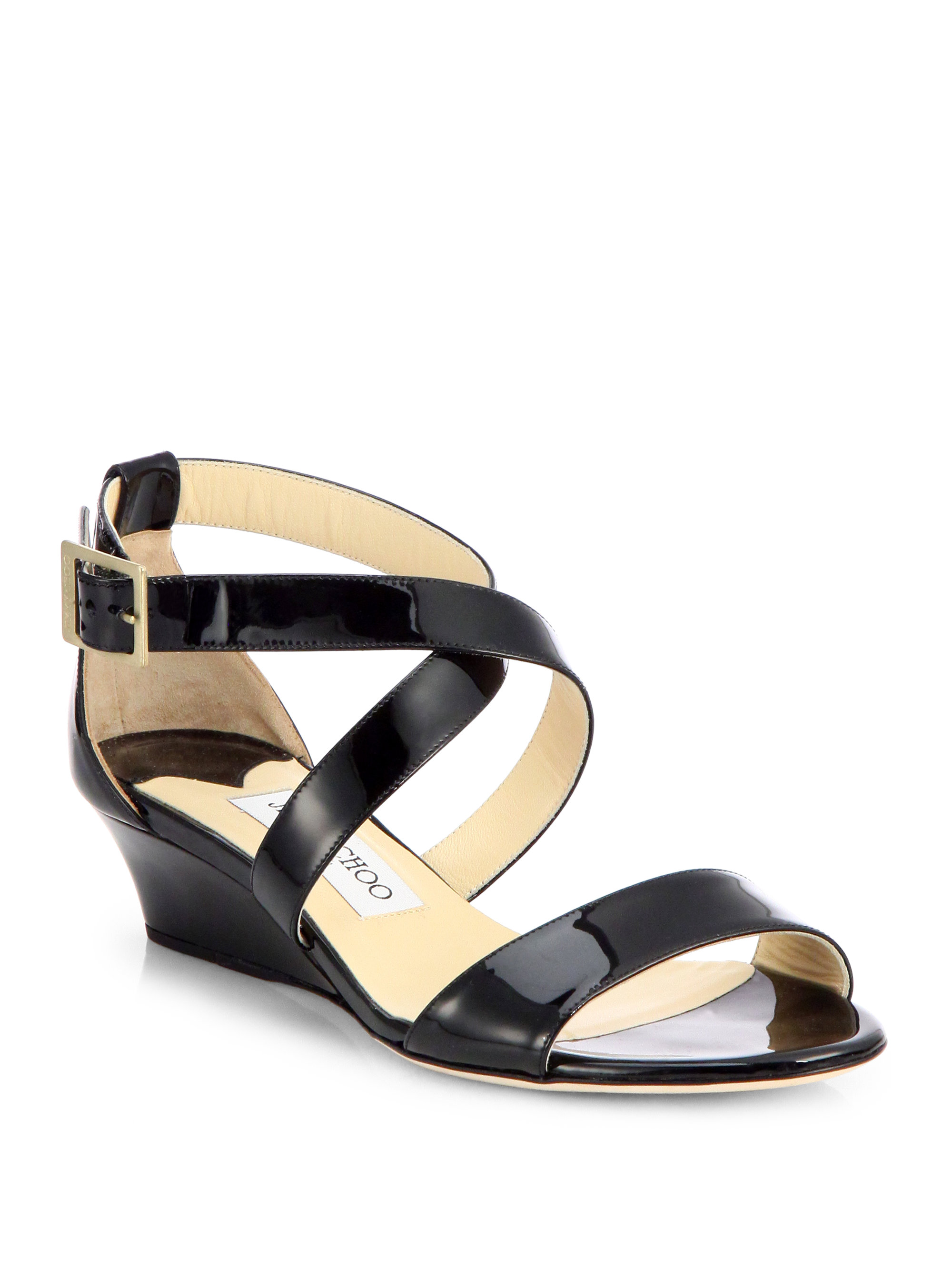 jimmy choo chiara patent leather wedge sandals in black lyst