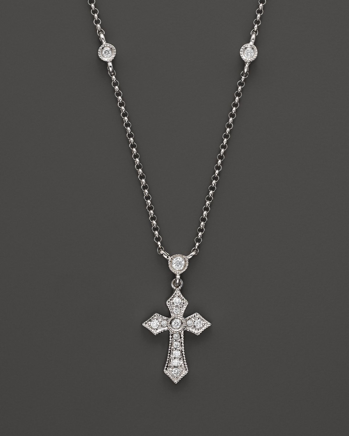 Kc Designs Cross Pendant Necklace With Diamond Stations In
