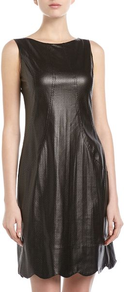 Muse Perforated Fauxleather Dress Black - Lyst