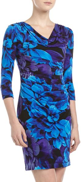 Muse Printed Cowlneck Dress Blue - Lyst